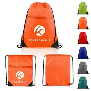 Durable Drawstring Backpack with Large Zippered Pocket